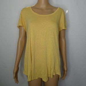Lucky Brand Scoop Neck T Shirt Embroidered Sleeves